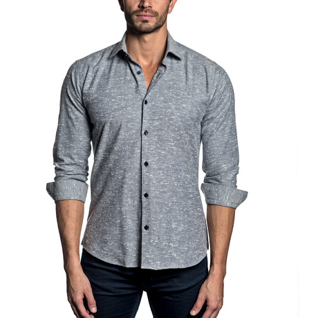Woven Button-Up // GREY (S)
