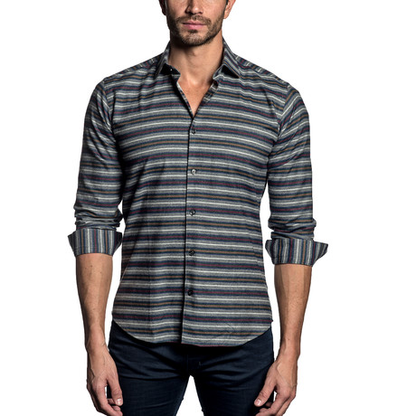 Woven Button-Up // Charcoal Multi Stripe (S)