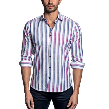 Woven Button-Up // Blue + Purple Stripe (S)