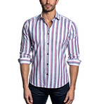 Woven Button-Up // Blue + Purple Stripe (S)