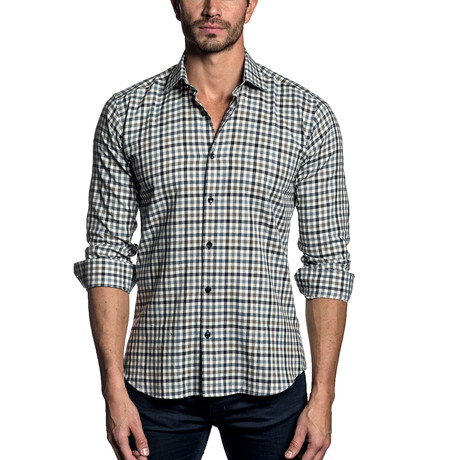 Woven Button-Up // Navy + Charcoal Gingham (2XL)