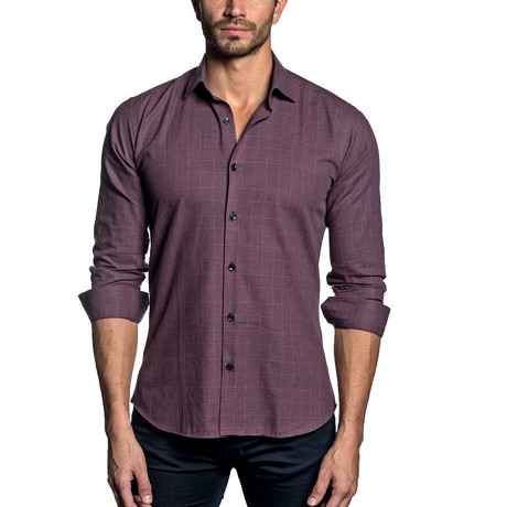 Woven Button-Up // BERRY CHECK (S)