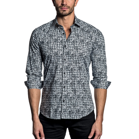 Woven Button-Up // White + Black Floral Gingham (S)