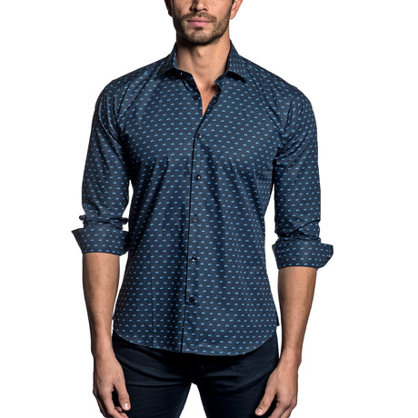 Woven Button-Up // NAVY SCOOTERS (S)
