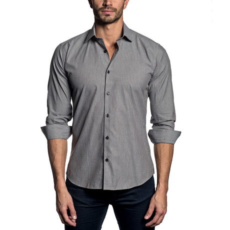 Woven Button-Up // CHARCOAL MICRO STRIPE (S)