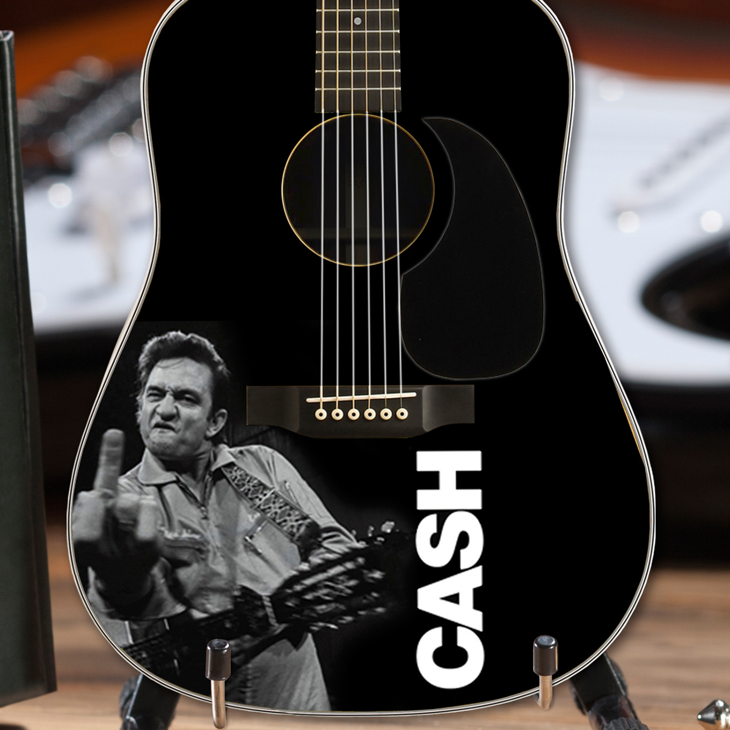 johnny cash photo tribute mini acoustic guitar axe heaven touch of modern. Black Bedroom Furniture Sets. Home Design Ideas