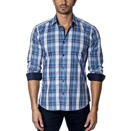 Woven Button-Up // Blue Plaid (S)