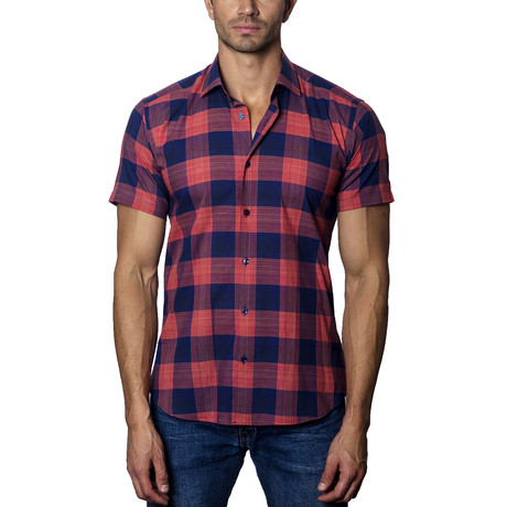 Woven Short Sleeve Button-Up // Red + Navy Plaid (S)