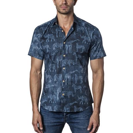 Tyler Short Sleeve Button-Up Shirt // Blue (S)