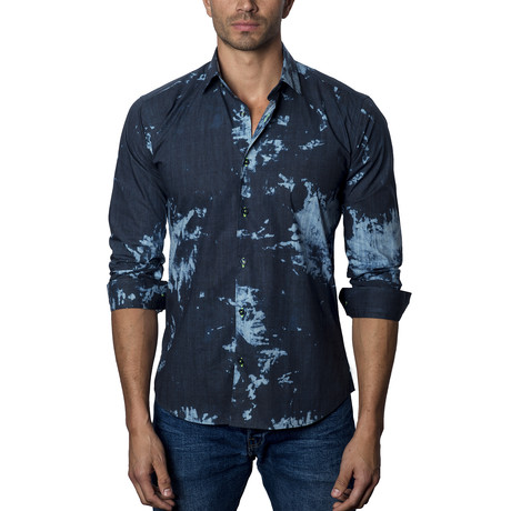 Woven Button-Up V // Navy (S)