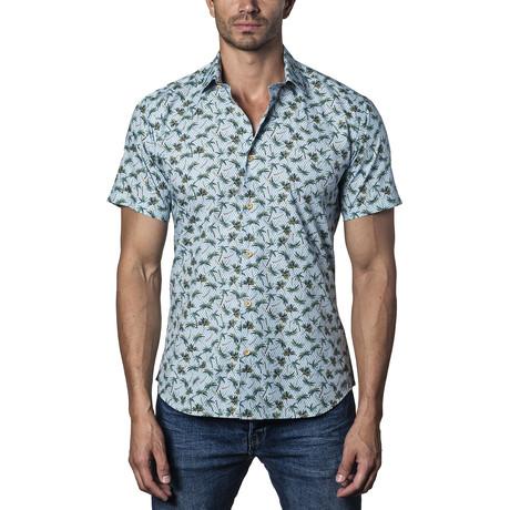 Woven Short Sleeve Button-Up Shirt // Blue (S)