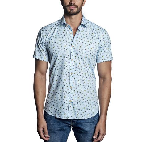 Woven Short Sleeve Button-Up III // Blue (S)