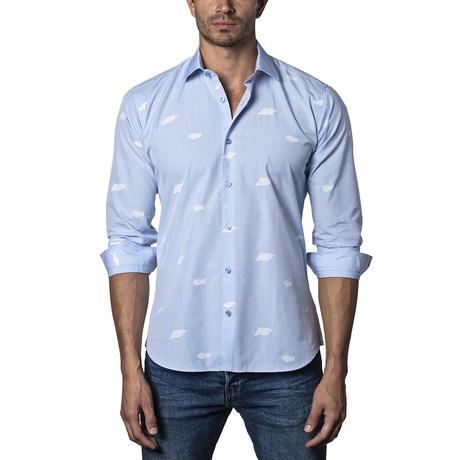 Woven Button-Up // Light Blue + White
