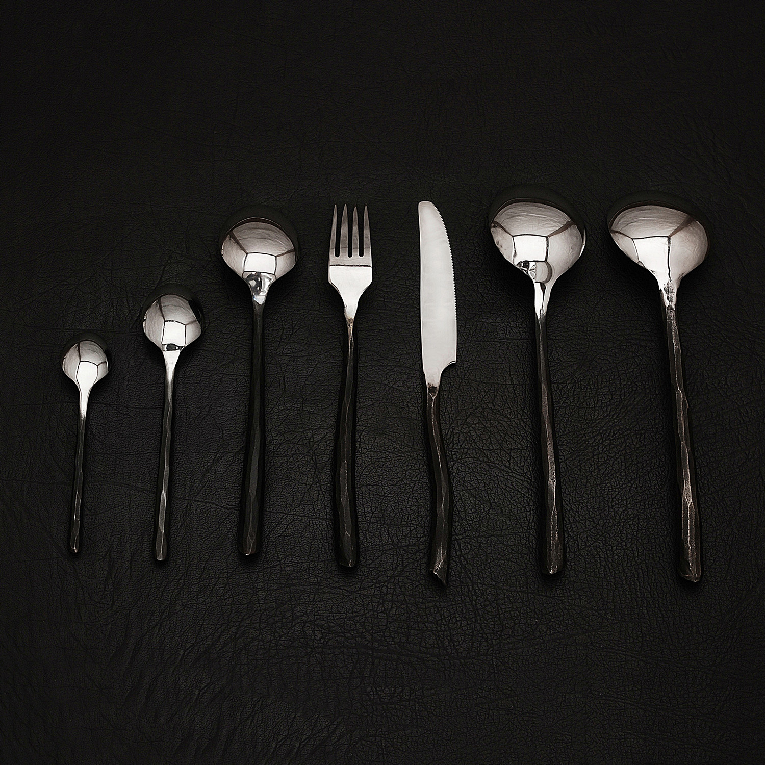 Forged Artisan Cutlery Set 34 Piece Black Forge