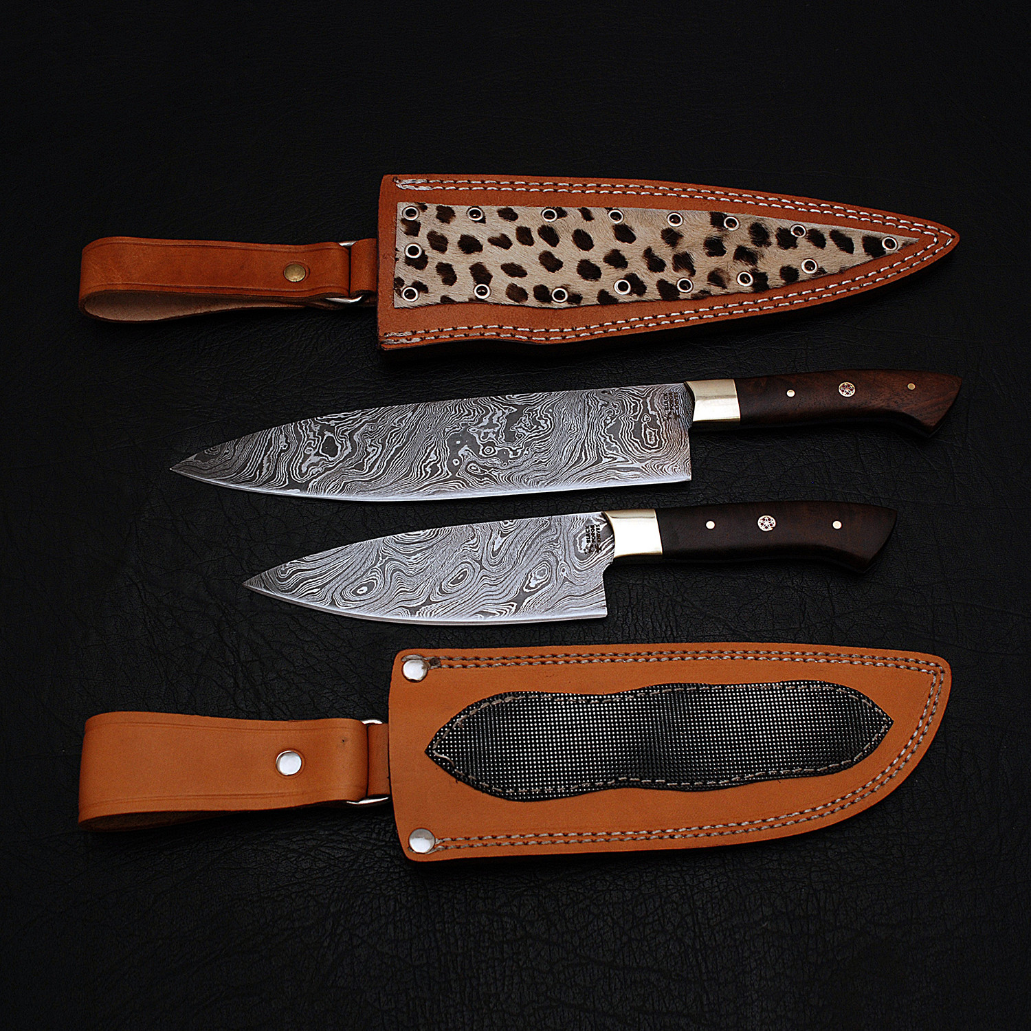 damascus chef knife set // 2 piece // 9181 - black forge