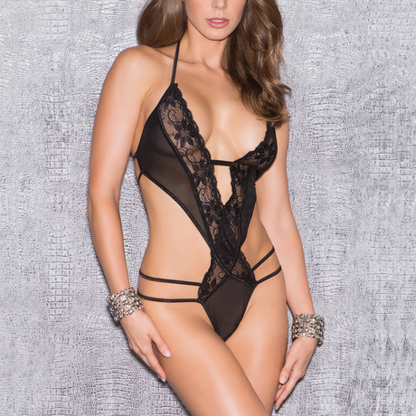 Lace + Mesh Teddy // Black