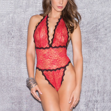 Floral Lace Teddy // Red + Black