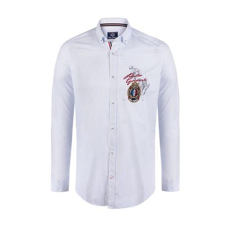 Dale Button Down Shirt // White + Blue Stripe (S)