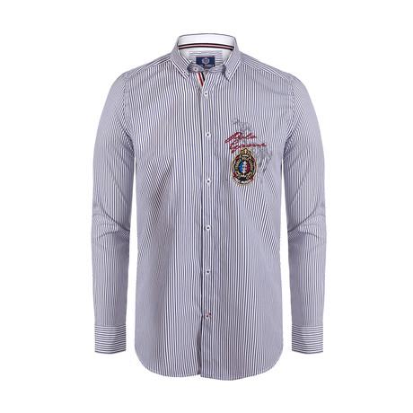 Hamzah Button Down Shirt // Navy + White Stripe (S)