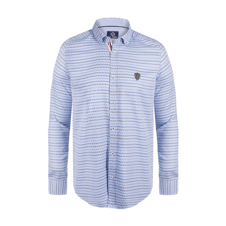 Baran Button Down Shirt // Navy Multi Stripe (S)