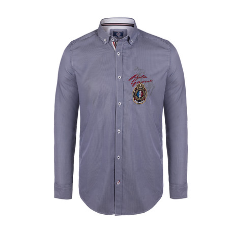 Pike Button Down Shirt // Navy Stripe (S)