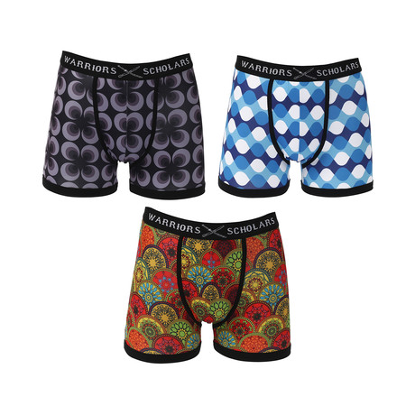 Flyer Moisture Wicking Boxer Brief // Black + Blue + Red // Pack of 3 (S)