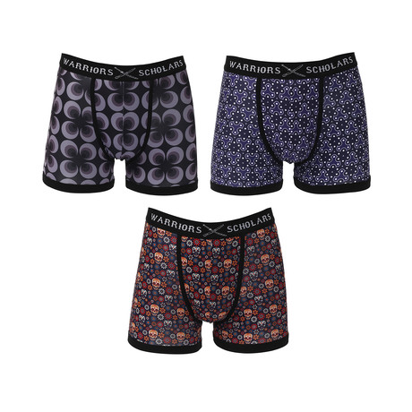 Function Moisture Wicking Boxer Brief // Black + Blue // Pack of 3