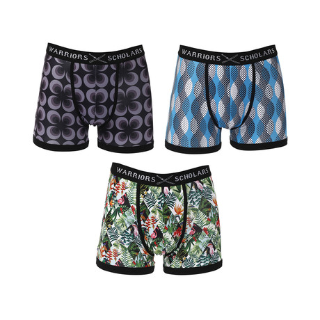 Factor Moisture Wicking Boxer Brief // Black + Blue + Green // Pack of 3 (S)