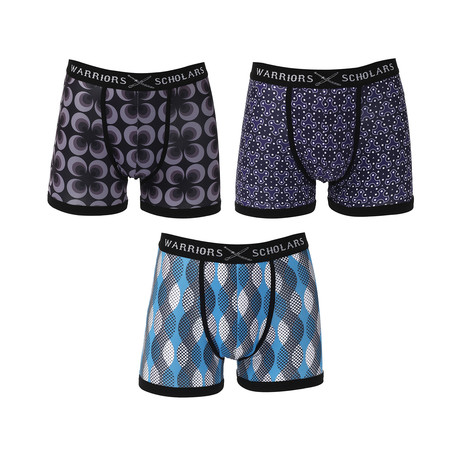Falcon Moisture Wicking Boxer Brief // Blue + Black // Pack of 3 (S)