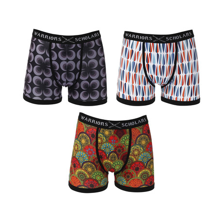 Raven Moisture Wicking Boxer Brief // Black + Orange + Red // Pack of 3 (S)