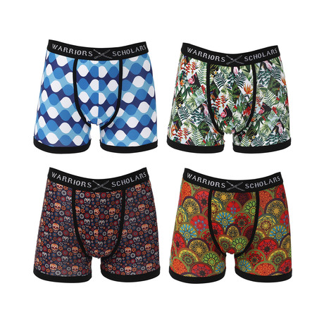 Hawk Moisture Wicking Boxer Brief // Blue + Green + Red // Pack of 4 (S)