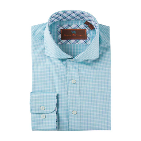 Cotton Button-Up Shirt // Teal + White Grid