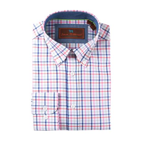 Cotton Button-Up Shirt // Pink + Blue + Grey Grid