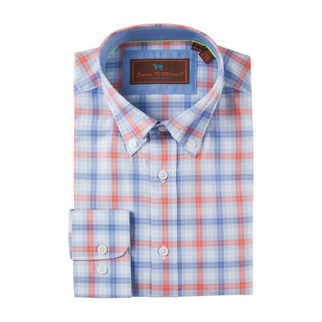 Cotton Button-Up Shirt // Blue + Coral Check