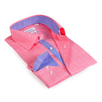 Salmon Contrast Collar Solid Button-Up Shirt // Salmon + Blue (S)