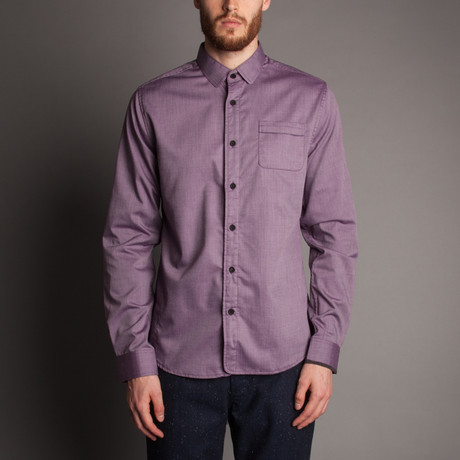 Soft Pin-Dot Button Front Shirt // Plum (XL)