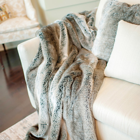 Signature Faux Fur Throw // Grey Rabbit