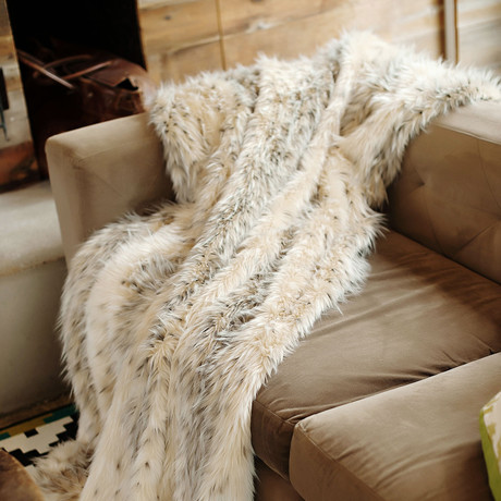 Limited Edition Faux Fur Throw // Arctic Leopard