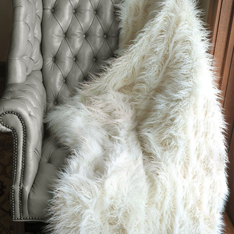 Signature Series Faux Fur Throw // Ivory Mongolian
