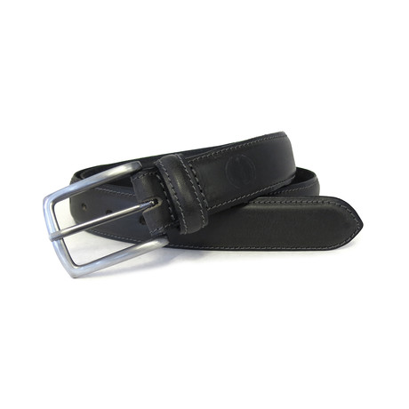 Tristan Genuine Leather Feather Edge Belt // Black (32)