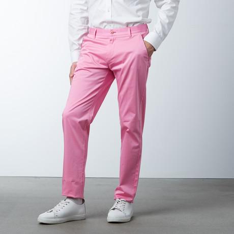 Comfort Fit Casual Chino Pant // Geranium Pink (30WX32L)