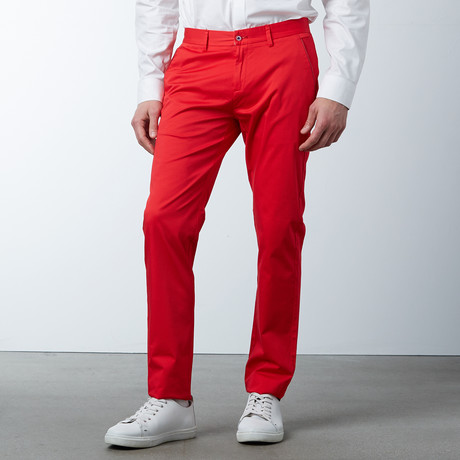 Comfort Fit Casual Chino Pant // Poppy Red (30WX32L)