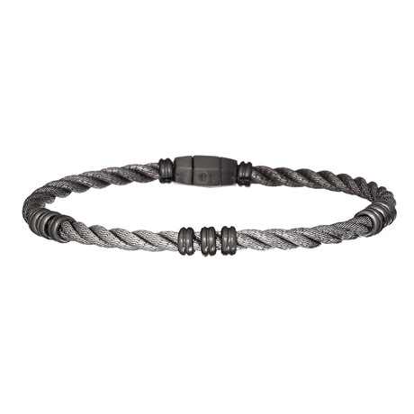 Braided Bracelet + 3 Beads Together // Silver