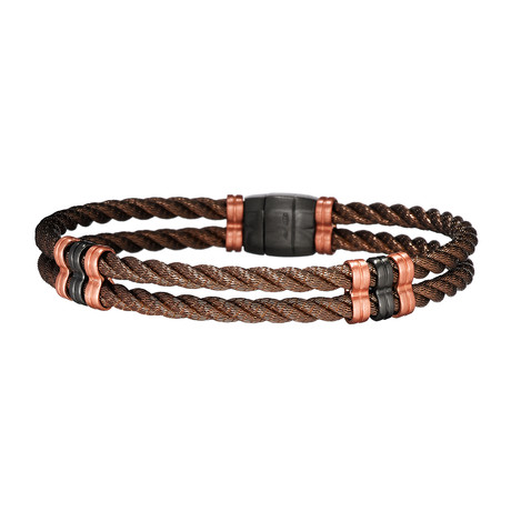 Double Braided Bracelet + 3 Beads Together // Bronze