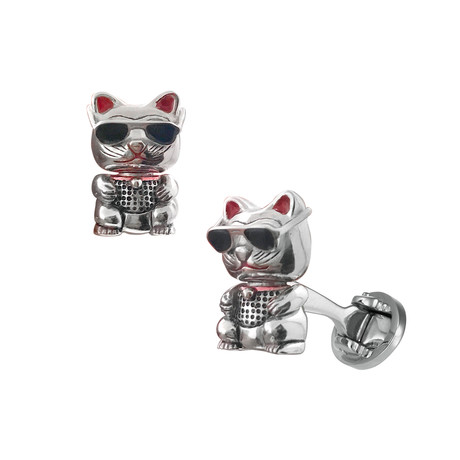 Cool Bobble Head Cat In Sunglasses Cufflinks