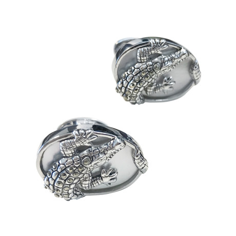 Oval Alligator On Mother Of Pearl Cufflinks