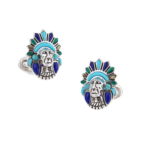 Indian Chief With Stone Inlay Cufflinks