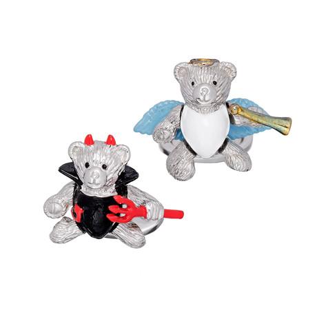 Moving Devil + Angel Bear Cufflinks