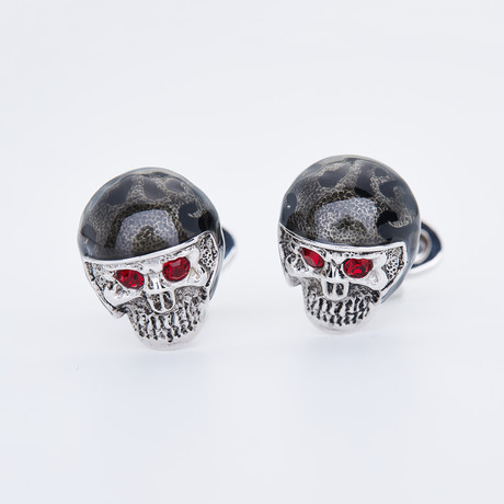 Black Motorcycle Helmet Skull + Red Eyes Cufflinks