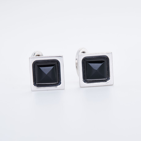 Square With Onyx Pyramid Center Cufflinks